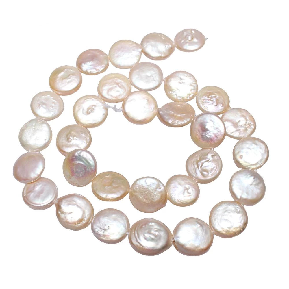12-13mm 15inch Strand Cultured Freshwater Coin Pearl Beads