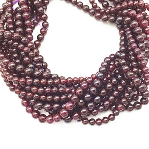 4/5/6 mm 15.3 inch Strand Natural Dark Garnet Stone Round Bead