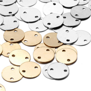 8mm 20Pcs Round Small Stamping Blank Connector With Two Holes (Gold/Silver)