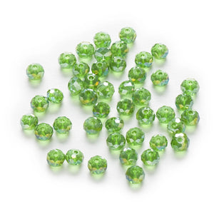 4/6/8mm 50 Pcs Light Green AB Color Crystal Glass Round Beads