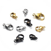 Load image into Gallery viewer, 25Pcs Stainless Steel Lobster Clasps For Jewelry Making 9/10/12/15mm Silver Gold Black