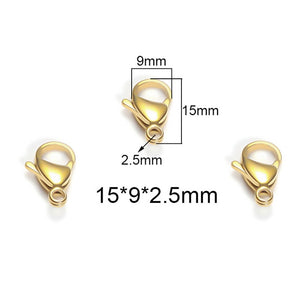 25Pcs Stainless Steel Lobster Clasps For Jewelry Making 9/10/12/15mm Silver Gold Black