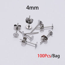 Load image into Gallery viewer, 3/4/5/6/8/10/12mm Stainless Steel Earring Posts with Earring Backs(Gold 20PCS / Silver 100PCS)