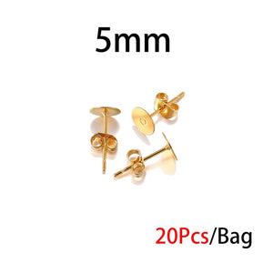 3/4/5/6/8/10/12mm Stainless Steel Earring Posts with Earring Backs(Gold 20PCS / Silver 100PCS)