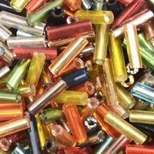 Load image into Gallery viewer, 2*6.5mm 500pcs Czech Cylindrical Silver Lined Glass Bugle Beads (14 Colors)
