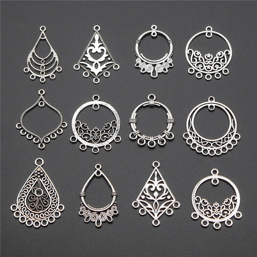 10pcs Antique Silver Earring Connector Charms