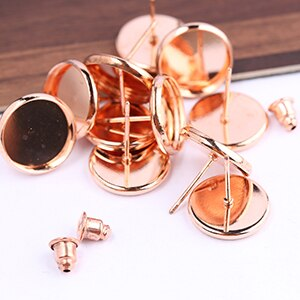50pcs 12mm Stud Earring Round Base