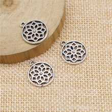 Load image into Gallery viewer, 10pcs Silver Color Antique Flower Charm Pendant