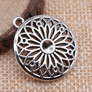 10pcs Silver Color Antique Flower Charm Pendant