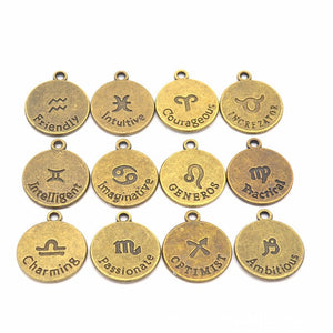 12pcs/set Antique Bronze 12 Zodiac Sign Charms Pendants