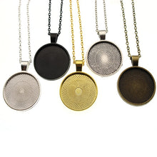 Load image into Gallery viewer, 5pcs 25mm Round Bezel Blank Base Necklace Pendant with Chains Necklace