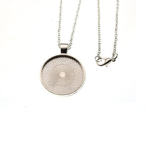 5pcs 25mm Round Bezel Blank Base Necklace Pendant with Chains Necklace