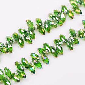 6x12mm 50Pcs Faceted Top Drill Teardrop Glass Crystal Briolette Beads