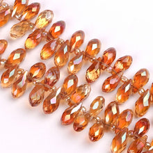 Load image into Gallery viewer, 6x12mm 50Pcs Faceted Top Drill Teardrop Glass Crystal Briolette Beads