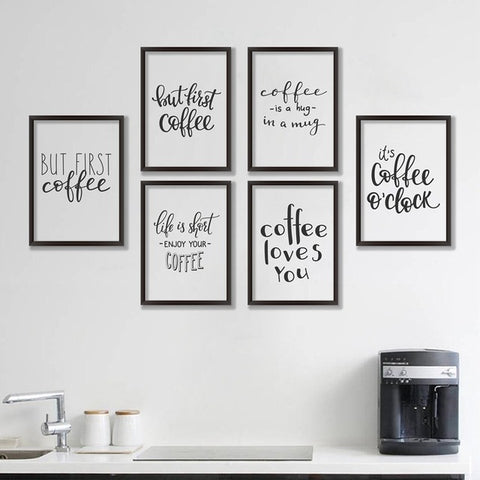 Coffee Quote Canvas Art Print Poster, Simple Style
