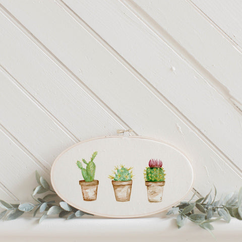 Cactus Watercolor Faux Embroidery Hoop
