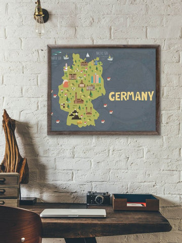 Germany Map Print Germany Gifts Germany Poster