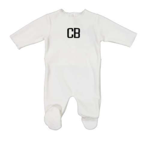 Cream Bebe Print Footie