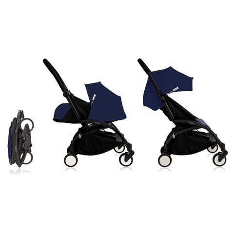 Babyzen Yoyo Complete Stroller - Black Frame - Air France Blue