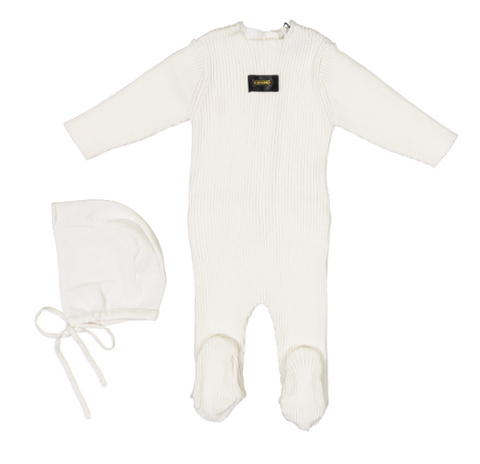 Cream Bebe Ribbed Knit Footie