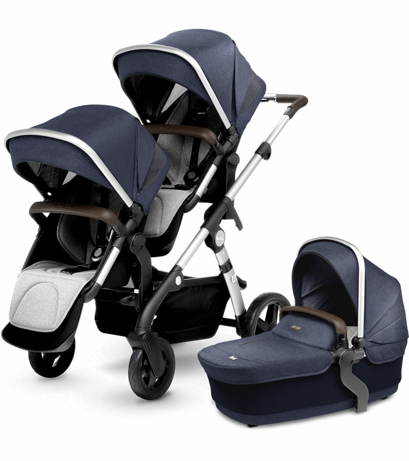 Silver Cross Wave Double Stroller In Midnight Blue