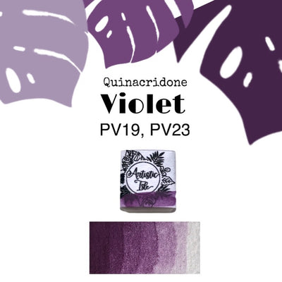 Half Pan, Violet, Quinacridone Violet, deep purple, purple, handcrafted , watercolor paint