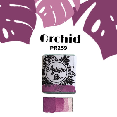 Orchid, pink, light purple, handcrafted , watercolor paint