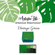 Vintage Green, green, watercolor, handcrafted , watercolor paint