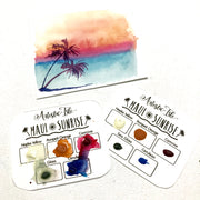 Dot Card-Maui Sunrise, Maui, Set summer, watercolor, FREE USA SHIPPING