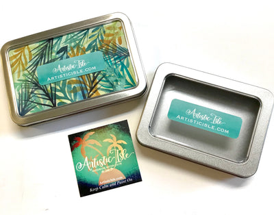 Metal tin, magnetic, storage tin, watercolor case
