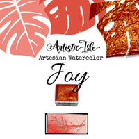 Joy, Metallic Red, handmade watercolor,