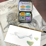 Magical Creatures, Mythical Creatures, dragon, wisp, griffin, mermaid, Halloween set