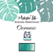 Oceanic, light teal green metallic, iridescent, chrome