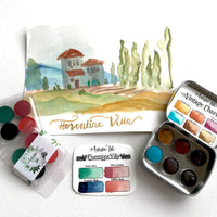 Florentine Villa, Italy, watercolor SET,handcrafted watercolor paint