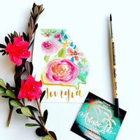 Loose Florals, State post card Class, Learn Watercolor, Watercolor How to, GA STATE- loose floral post card