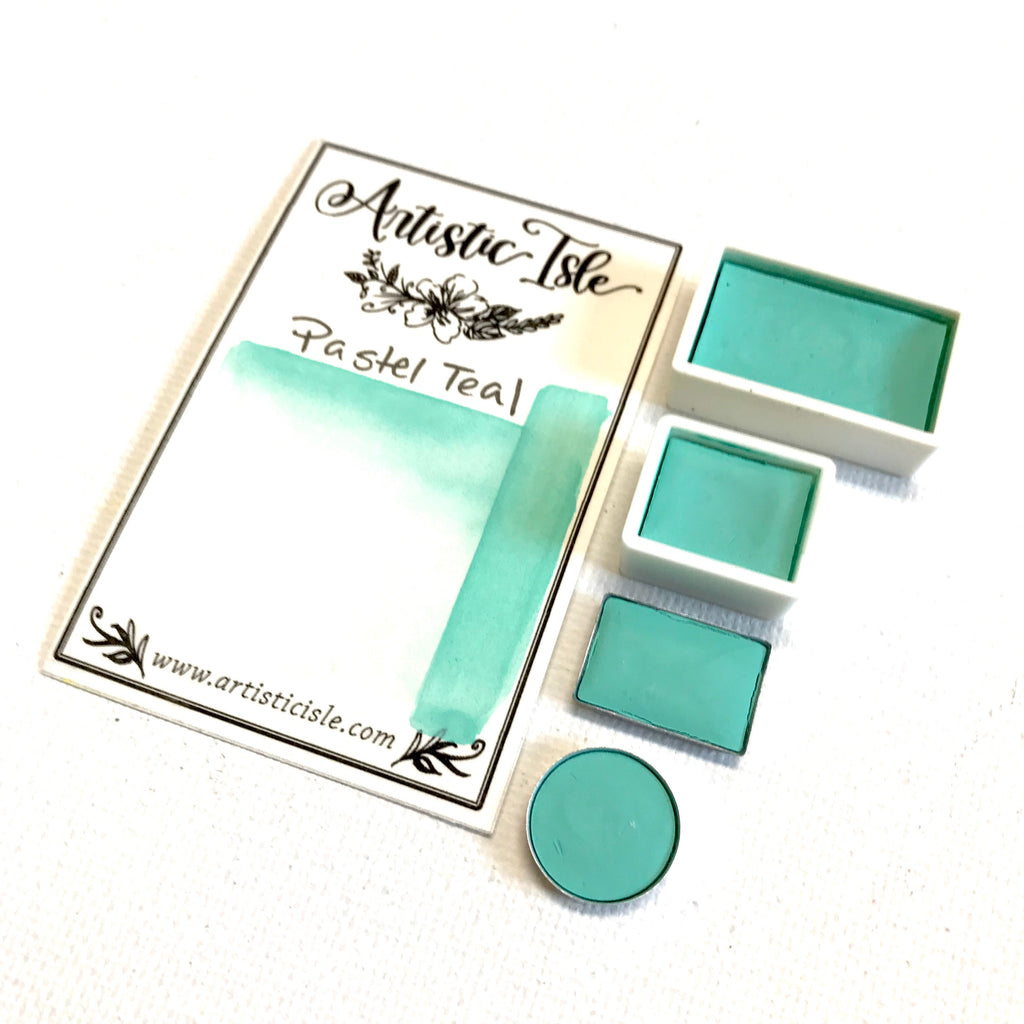 Pastel Teal, light blue, handcrafted, watercolor paint