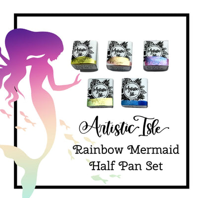 Rainbow Mermaid 2, watercolor set, half pans