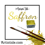 Saffron, yellow, metallic, mica, watercolor paint