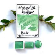 BALI, paradise, light green gold, Metallic***, watercolor paint, handcrafted watercolor