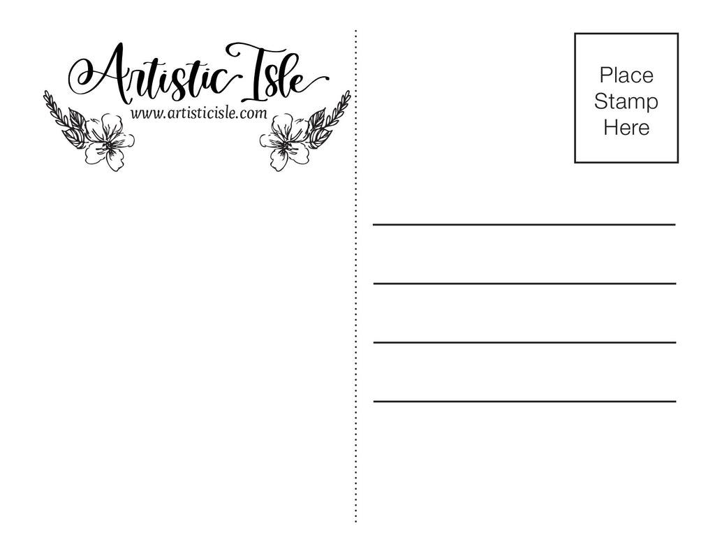 Post card back - Artistic Isle (printable)
