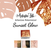 Sunset Glow, Orange, metallic, mica, watercolor paint
