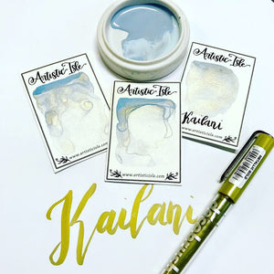 Kai Lani, Ocean, Metallic, White blue, chameleon, watercolor paint