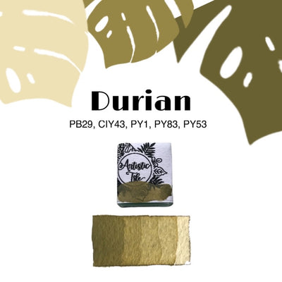 Durian, green, handcrafted, watercolor paint