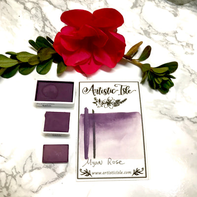 Myan Rose, deep purple red, handcrafted , watercolor paint