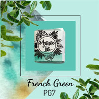 French green handmade watercolor paint, teal, PG7