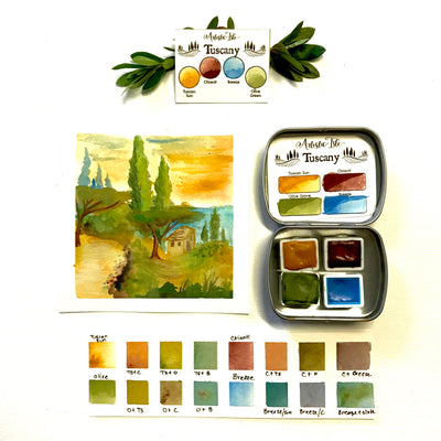 Tuscany set, Watercolor paint
