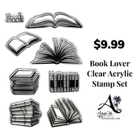 Book, book lover, clear stamp set