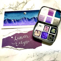 Lunar Eclipse, purple set, watercolor paint