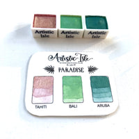Paradise Set, Tin, Set metallic colors, handmade watercolor, watercolor