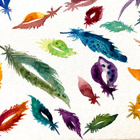 Feather Painting, watercolor art, original watercolor on canvas